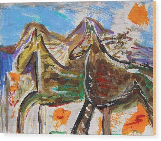 Wild Horses From The Hills Wood Print by Mary Carol Williams