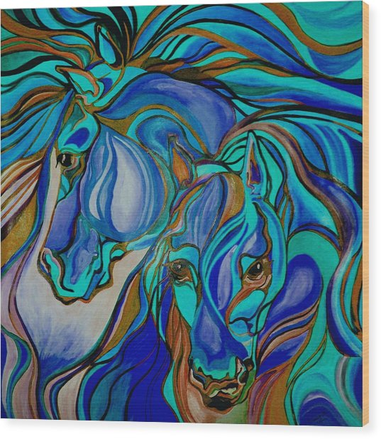 Wild  Horses In Brown And Teal Wood Print