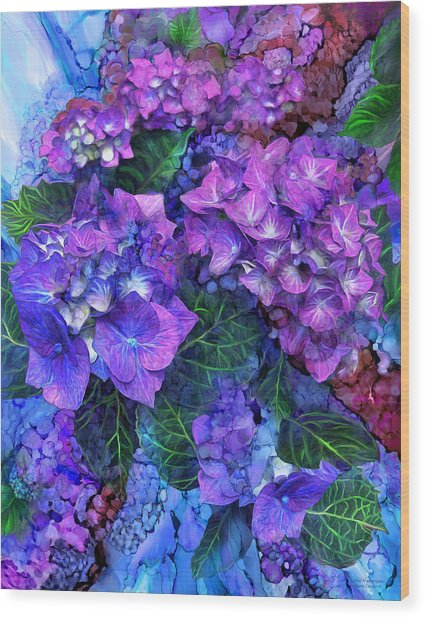 Wild Hydrangeas Wood Print