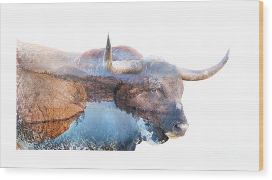 Wild Longhorn Bull And Lake Double Exposure Wood Print