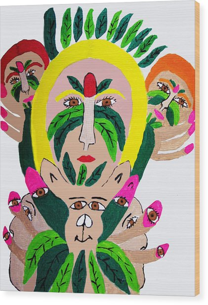 Wild Look Of The Green Plant Lady Wood Print by Betty  Roberts