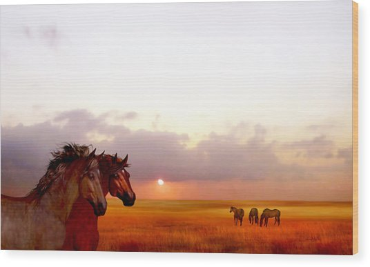 Wood Print featuring the painting Wild Moorland Ponies by Valerie Anne Kelly