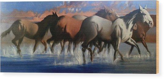Wild Mustangs Of The Verder River Wood Print