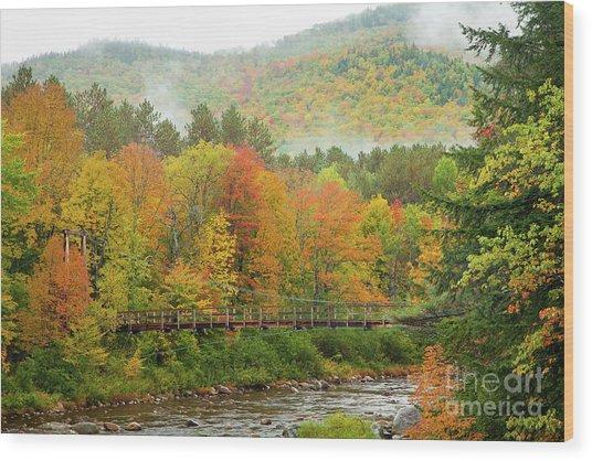 Wild River Bridge Wood Print