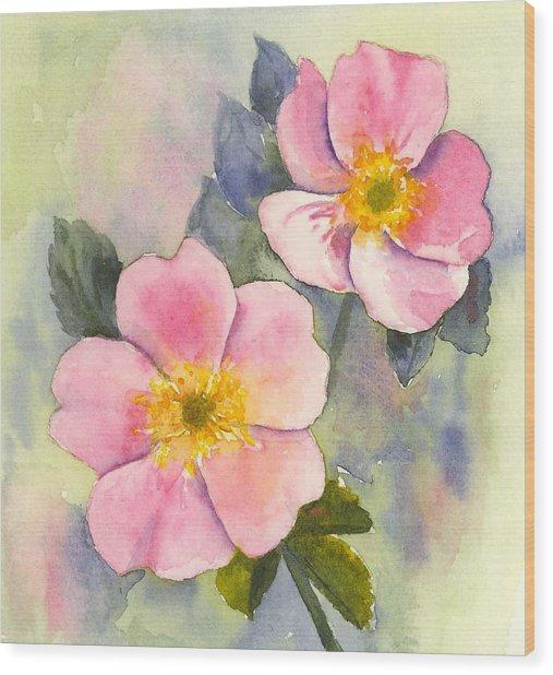 Wild Roses - Glacier Wood Print