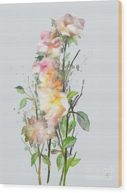Wood Print featuring the painting Wild Roses by Ivana Westin