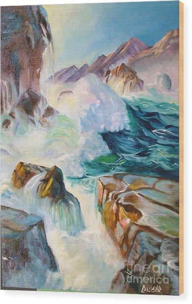 Wild Sea Wood Print by Anisha Shah