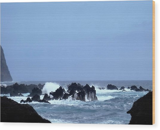 Wild Sea In Madeira Wood Print