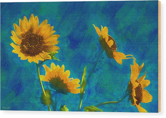Wild Sunflowers Singing Wood Print
