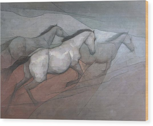 Wild White Horses Wood Print