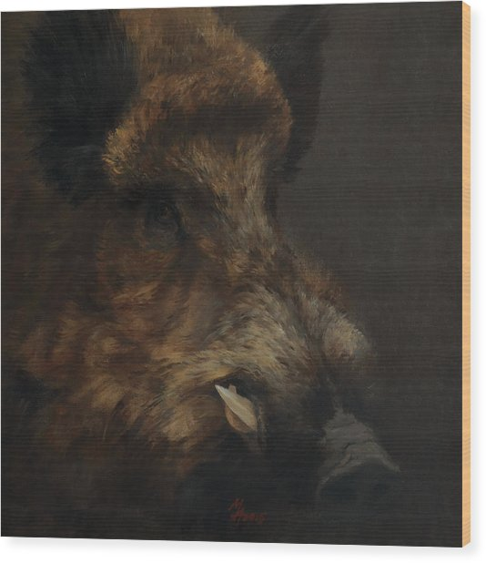 Wildboar Portrait Wood Print