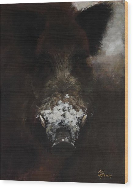 Wildboar With Snowy Snout Wood Print