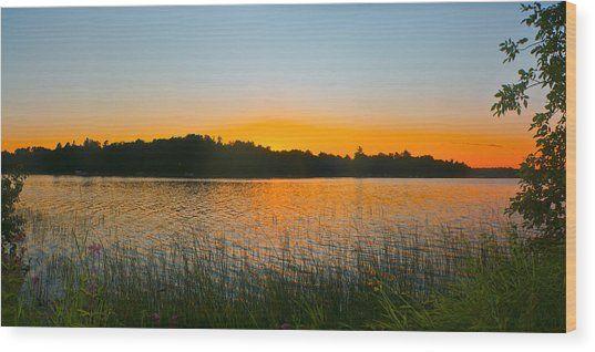 Wilderness Point Sunset Panorama Wood Print
