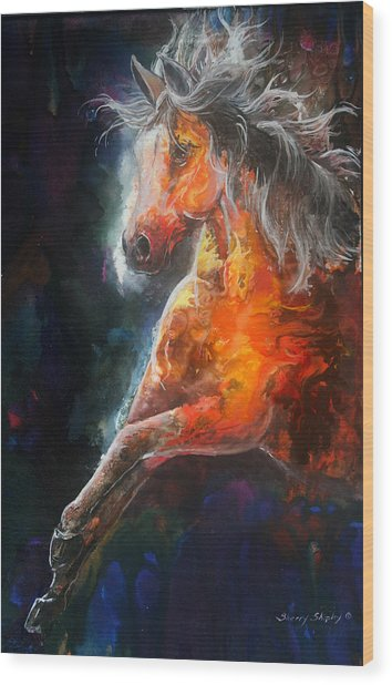 Wildfire Fire Horse Wood Print