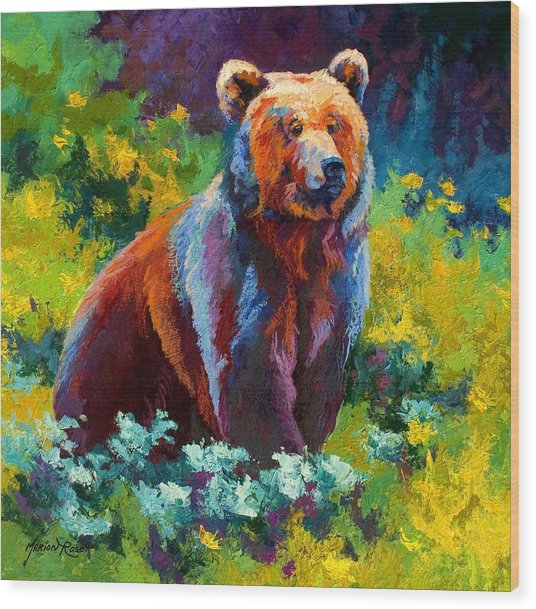 Wildflower Grizz Wood Print