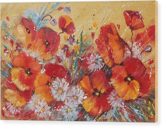 Wildflower Meadows Wood Print