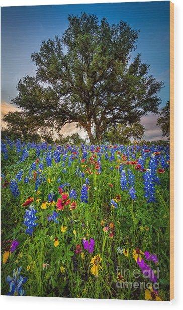 Wildflower Tree Wood Print