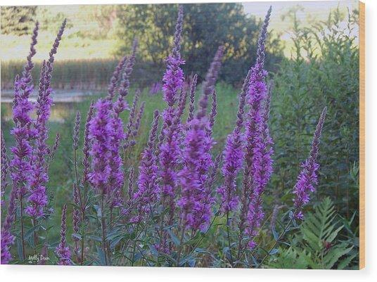 Wildflowers In Wind Wood Print by Molly Dean
