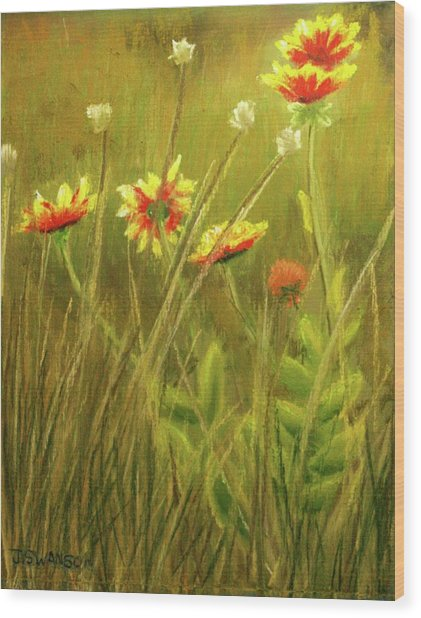 Wildflowers Wood Print by Joan Swanson