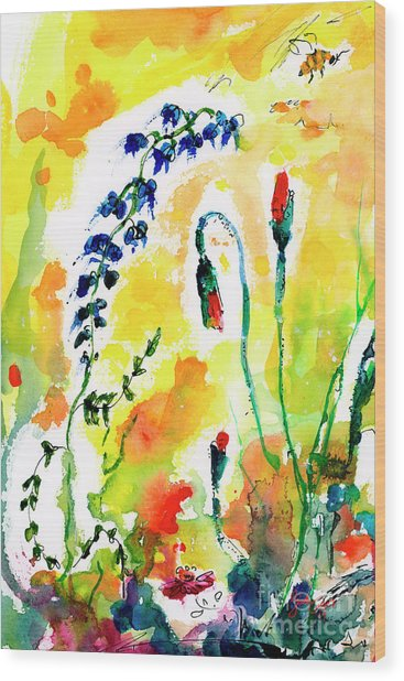 Wildflowers Provence Poppies And Bees Wood Print