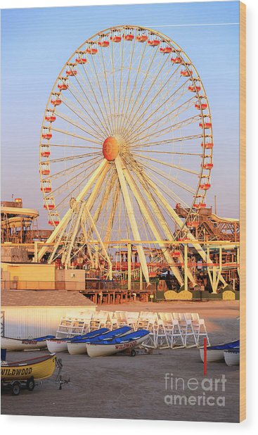 Wildwood Ferris Wheel Wood Print