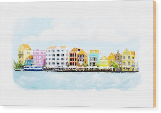 Willemstad Curacao Skyline Wood Print