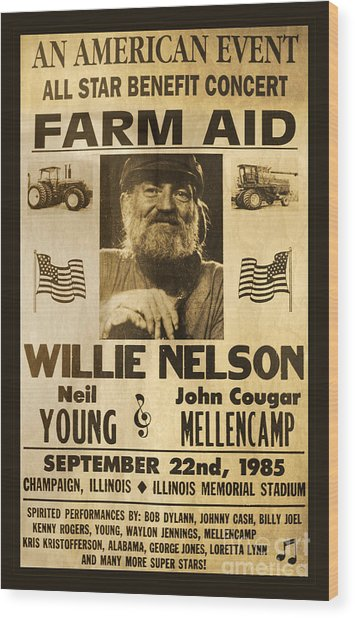 Willie Nelson Neil Young 1985 Farm Aid Poster Wood Print