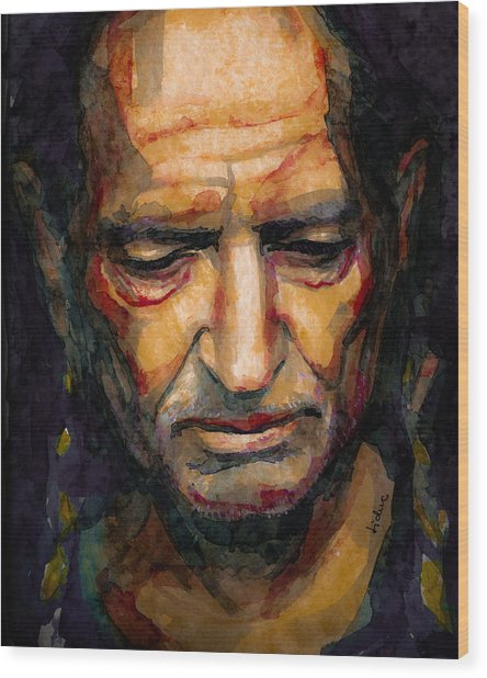 Willie Nelson Portrait 2 Wood Print