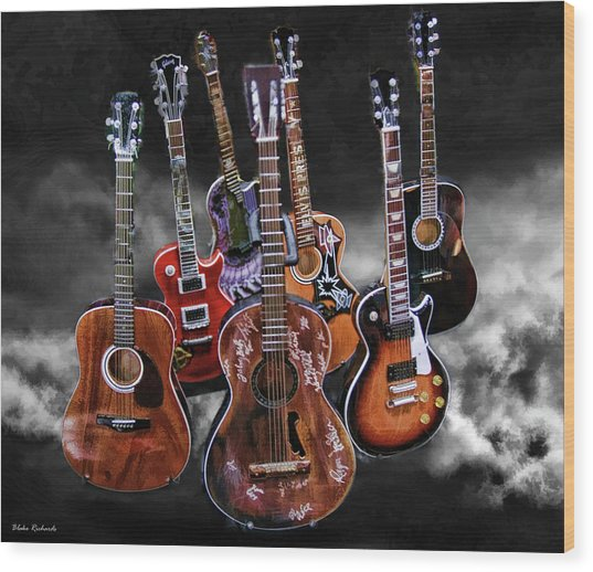 Willie Nelson Slash Martin Elvis Johnny Cash Guitar's  Wood Print
