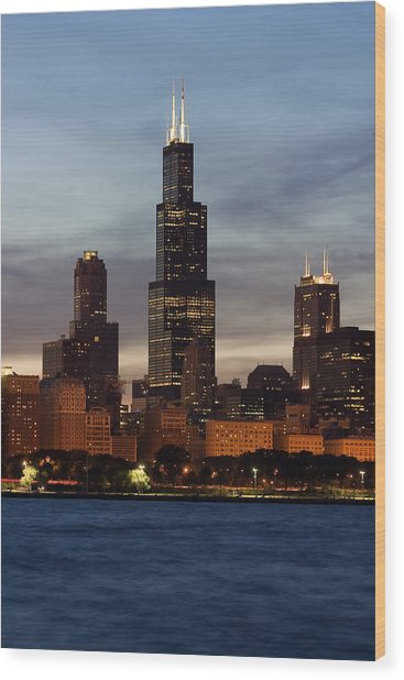 Willis Tower At Dusk Aka Sears Tower Wood Print