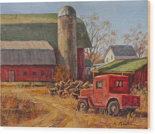 Willys Jeep At Work Wood Print by Robert Perrish