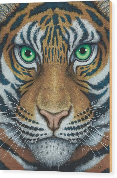 Wils Eyes Tiger Face Wood Print
