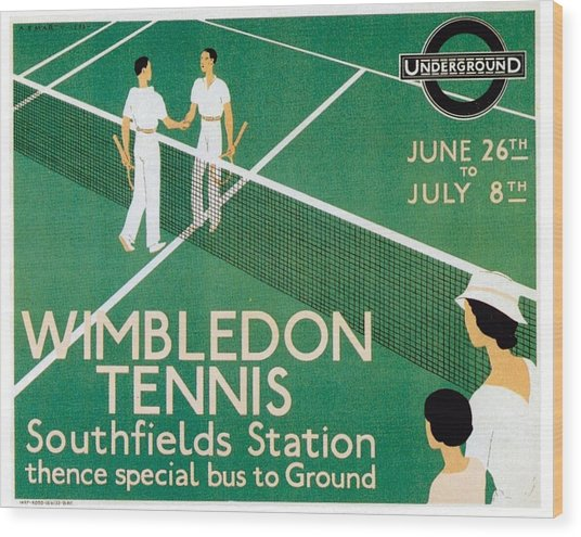 Wimbledon Tennis Southfield Station - London Underground - Retro Travel Poster - Vintage Poster Wood Print