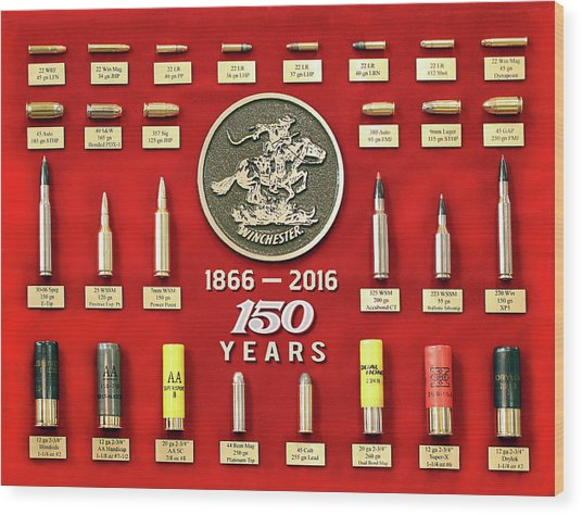 Winchester 150th Anniversary Commemorative Cartridge Board Wood Print