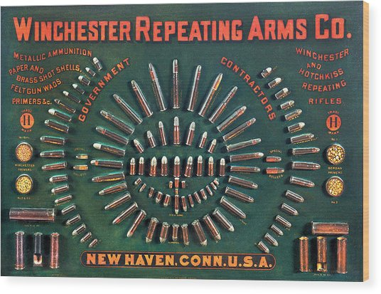 Winchester 1884 Cartridge Board Wood Print