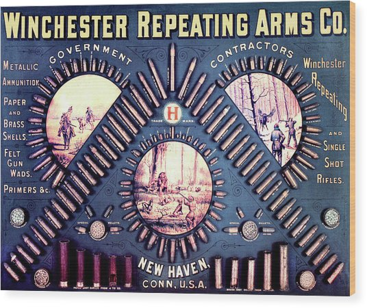 Winchester 1888 Cartridge Board Wood Print