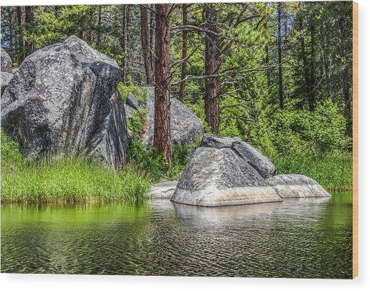 Winchester Lake Rocks Wood Print