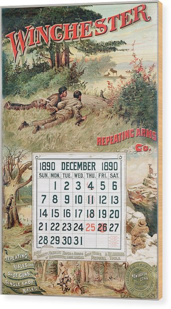 1890 Winchester Repeating Arms And Ammunition Calendar Wood Print
