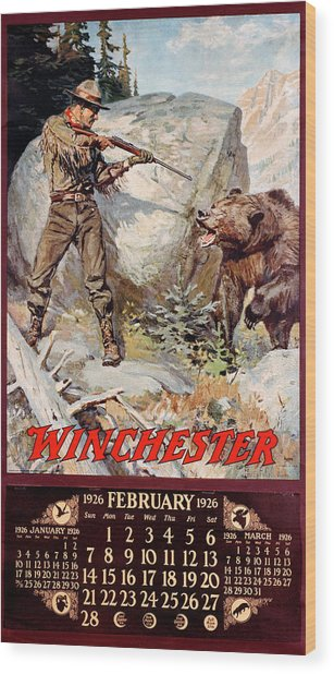 1926 Winchester Repeating Arms And Ammunition Calendar Wood Print