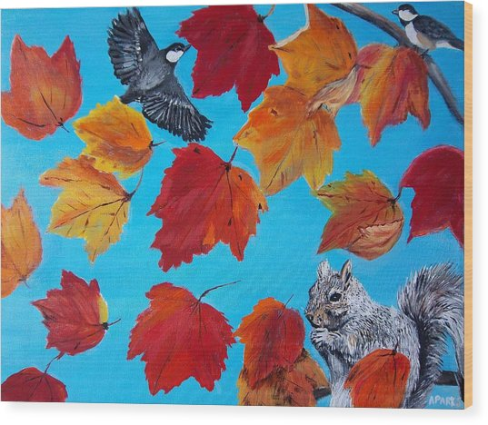 Wind And The Autumn Sky Wood Print