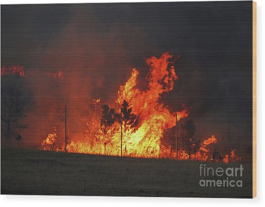 Wildfire Flames Wood Print