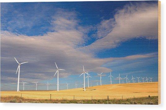 Wind Farm Against The Sky Wood Print
