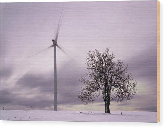 Wind Power Station, Ore Mountains, Czech Republic Wood Print