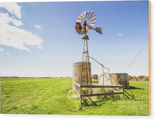 Wind Powered Farming Station Wood Print