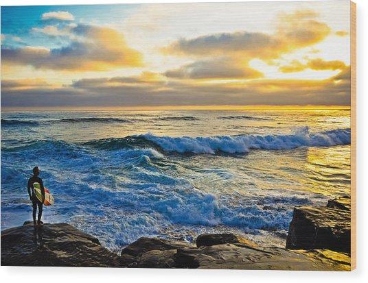Windansea Sunset Surfer Wood Print