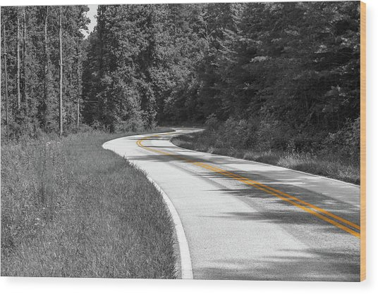 Winding Country Road In Selective Color Wood Print