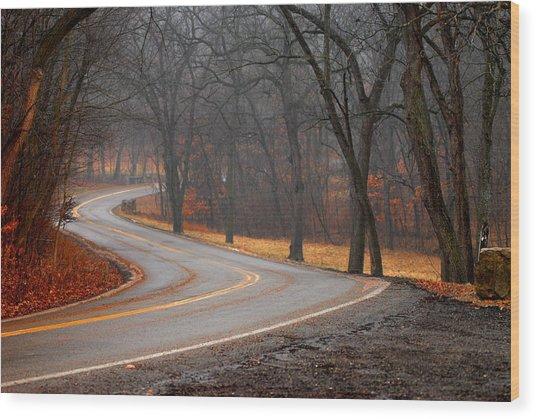 Winding Misty Road Wood Print