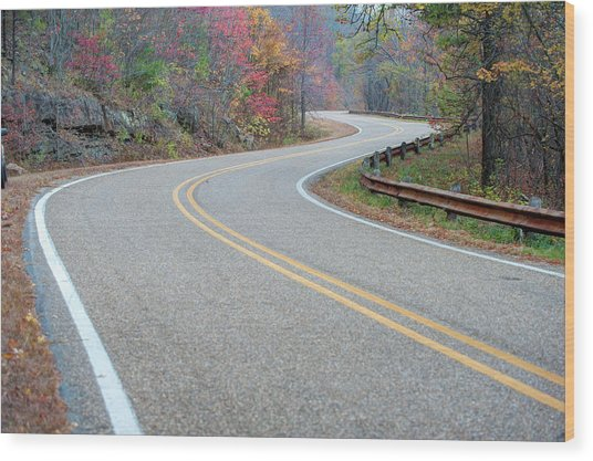 Winding Roads In Autumn Wood Print by Gregory Ballos