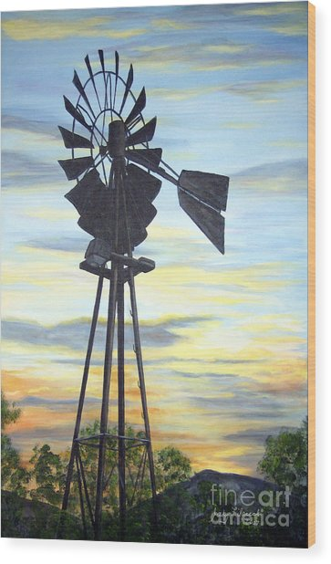 Windmill Capture The Wind Wood Print by Judy Filarecki
