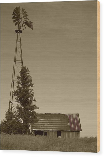 Windmill II Wood Print